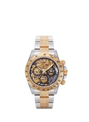 Mad Collections Rolex Steel Skeleton Ii Engraved Daytona Watch Metallic