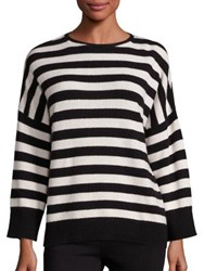 The Kooples Cashmere Blend Striped Sweater Black White