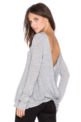 Pink Stitch Twisted Top Gray
