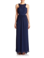 La Femme Ruched Net Jersey Gown Navy