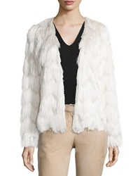 Alexis Florin Scalloped Tiered Fringe Jacket Cream