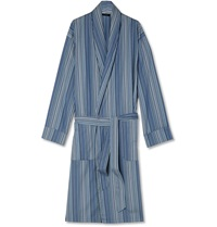 Paul Smith Striped Cotton Robe Blue