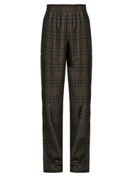 Maison Martin Margiela High Rise Checked Wool Blend Wide Leg Trousers Dark Brown