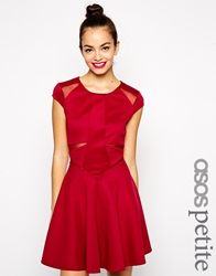 Asos Petite Exclusive Scuba Skater Dress With Mesh Insert Wine
