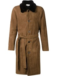 Melindagloss Shearling Overcoat Brown