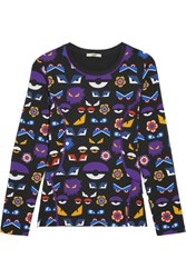 Fendi Printed Stretch Jersey Top Purple