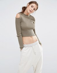 Daisy Street Fitted Jumper With Cold Shoulders Khaki Green