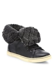 Ugg Croft Luxe Quilt Shearling And Leather Sneakers Black