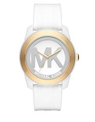 Michael Kors Preston Goldtone Stainless Steel And Silicone Strap Watch White