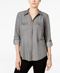 Styleandco. Style Co. Petite Denim Utility Shirt Only At Macy's Grey Wash