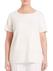 Lafayette 148 New York Plus Size Textured Stripe Tee Cloud