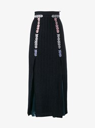 Peter Pilotto Velvet Midi Skirt With Satin Inserts Black Pink Silver Blue