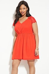 Forever 21 Plus Size Lace Skater Dress Coral