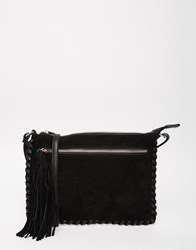 Oasis Cross Body Bag With Whip Stitching Black