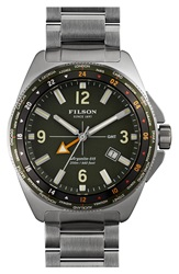 Filson 'The Journeyman' Gmt Bracelet Watch 44Mm Silver Green