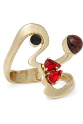 Etro Gold Plated Swarovski Crystal Ring Gold Red