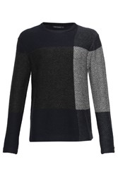 French Connection Men's Twill Check Knits Jumper Black