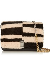 Proenza Schouler Courier Striped Shearling And Leather Shoulder Bag