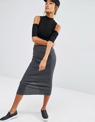 Daisy Street Midi Skirt Co Ord In Rib Grey