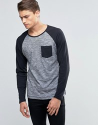 Esprit Raglan Long Sleeve Top With Contrast Sleeves And Pocket Black