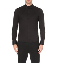 Wooyoungmi Slim Fit Stretch Cotton Shirt Black