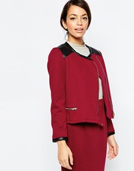 Traffic People Zip It Jacket In Quilted Fabric Red