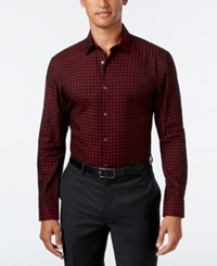 Alfani Men's Slim Fit Print Shirt Only At Macy's Red Velvet