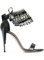 Casadei Beaded Ankle Strap Sandals Black