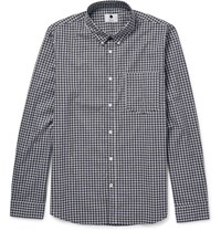 Nn.07 Nn07 Falk 5821 Lim Fit Button Down Collar Gingham Cotton Hirt Navy