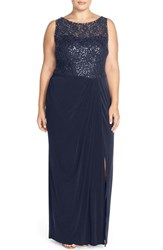Plus Size Women's London Times Sequin Lace Bodice Sheath Gown Navy