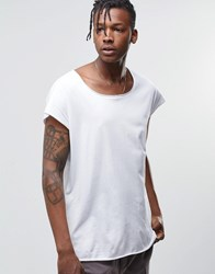 Asos Oversized Sleeveless T Shirt With Raw Scoop Neck In White White