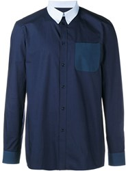 Givenchy Over Sized Cotton Long Sleeve Shirt Blue