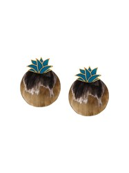 Silhouette Pineapple Earrings Brown