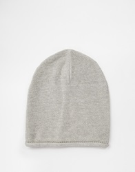 Asos Slouchy Beanie In Grey With Roll Edge