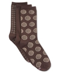 Hanes Women's Comfort Soft Crew Socks 3 Pack Khaki Dot