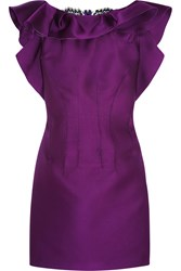 Lanvin Ruffled Lace Paneled Satin Mini Dress Purple