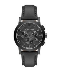 Burberry Mens Brushed Grey And Leather Chronograph Watch Black