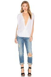 Velvet By Graham And Spencer Acasia Sleeveless Overlap Blouse White
