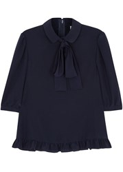 Red Valentino Navy Pussy Bow Silk Blouse