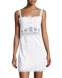 Ondademar Eyelet Sleeveless Cover Up Dress White