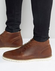 Asos Lace Up Boots In Brown Leather With Borg Lining Tan