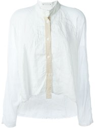 Lost And Found Loose Fit Band Collar Shirt White