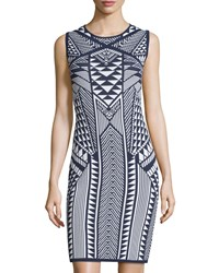 Carmen Carmen Marc Valvo Sleeveless Aztec Print Double Knit Sheath Dress Night Life
