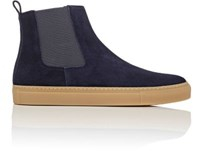 Barneys New York Men's Suede Chelsea Sneakers Navy