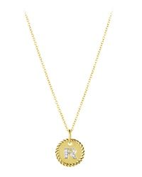 R' Pendant With Diamonds In Gold On Chain David Yurman