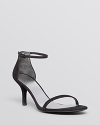 Stuart Weitzman Open Toe Sandals Naked Mid Heel Black