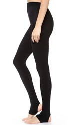 Plush Fleece Lined Tights With Stirrup Black