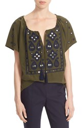 Tory Burch Women's 'Camille' Embellished Silk Peasant Top Dark Green Olive