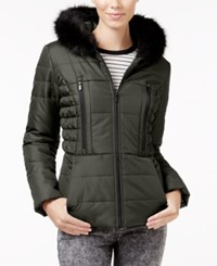Celebrity Pink Faux Fur Trim Hooded Puffer Coat Gray
