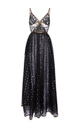 Elie Saab Lace Maxi Dress With Gold Embroidered Detail Black